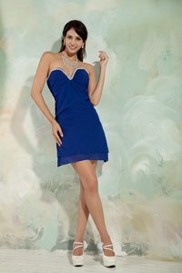 Beading and Ruches Accent Royal Blue Prom Dress of Chiffon 2013