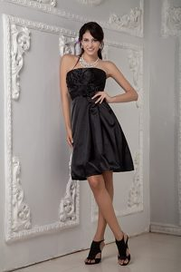 Black A-line Strapless Prom Dress with Ruches and Hand-made Flowers