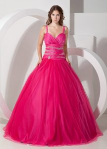 Spaghetti Straps Hot Pink Ball Gown Tulle Quinceanera Dress with Beading