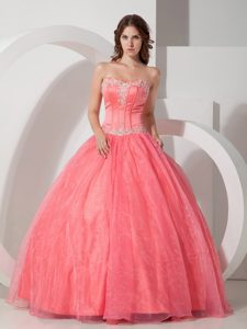 Appliques with Beading Sweetheart Floor-length Watermelon Dresses Of 15