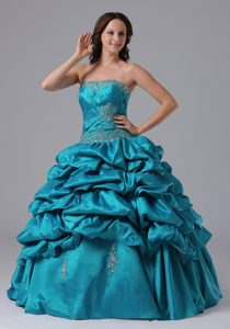Turquoise Pick-up Quinceanera Dress With Beading and Appliques
