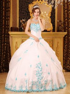 White Ball Gown Sweetheart Floor-length Appliques Dresses For 15 Dress