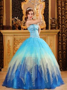 Blue Sweetheart Beading Ruffled Quinceanera Dress in Vaughan