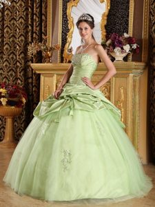 Yellow Green Strapless Beading Ruched Quinceanera Dresses