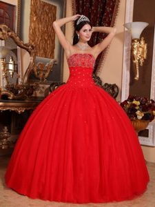 Beading Strapless Red Ball Gown Quinceanera Dress on Sale