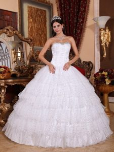 White Beaded Strapless Sweet 15 Dresses with Layered Ruffles
