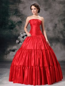 Strapless Red Ball Gown Ruched Sweet Sixteen Quinceanera Dresses