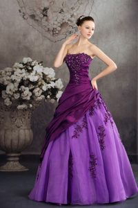 Two-toned Purple Quanceanera Dress with Appliques Ball Gown
