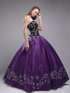 Black and Purple Sweetheart Embroidery Dresses Of 15