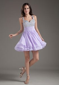Low Price Lilac Beaded Mini-length Dresses for Prom with Straps