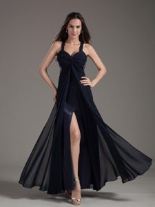 Modest Navy Blue Beaded Slitted formal Prom Dresses Online