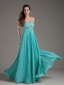 Empire Pleated Beaded Floor-length Turquoise Formal Prom Dress