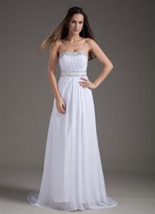 White Empire Rhinestones Brush Train Prom Bridesmaid Dresses