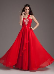 Wholesale Red One Shoulder Beaded Chiffon Prom Dress Lace-up