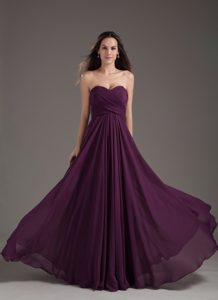 Dark Purple Sweetheart Chiffon Ruched Long Prom Holiday Dress