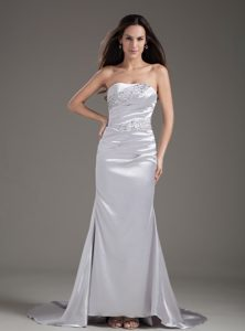 Silver Strapless Beaded Brush Train Prom Bridesmaid Dresses
