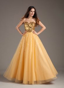 Shimmery A-line Sweetheart Gold Sequins Prom Dress Shops