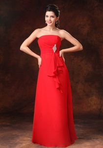 Red Empire Beading Prom Gowns to Floor-length with Ruching