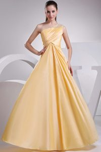 Beaded One Shoulder Yellow Taffeta Ruched Dress for Prom Queen
