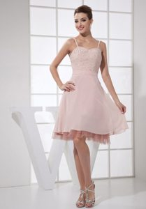Beaded Light Pink Dresses for Prom Queen with Spaghetti Straps