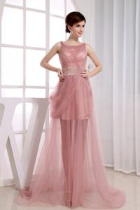 Beaded Decorated Waist Scoop Court Train Prom Dress in Pink
