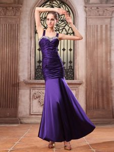 Purple Mermaid Straps Prom Dress with Beaded and Ruching to Ankle