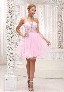 Beaded Up Bodice Baby Pink Prom Cocktail Dress with Mini-length
