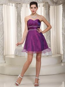 A-line Sweetheart Beading Mini Purple Prom Attire to Made in Organza