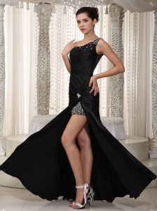 Beading Single Strap Black Prom Mother of the Bride Dress with High Low