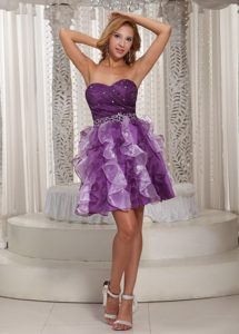 Princess Ruffles Beaded Eggplant Purple Prom Dress Cocktail Style