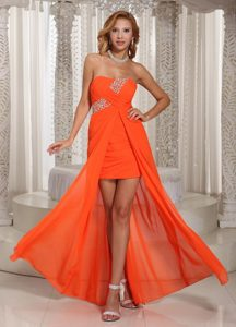 High-low Beading Strapless Prom Homecoming Dress in Orange Red