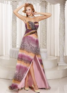 Multi-color High Slit Watteau Train Prom Dress Made in Animal Print Fabric