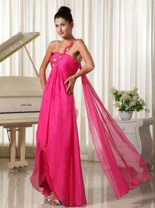 Appliques One Shoulder Hot Pink High-low Prom Dress with Watteau Train