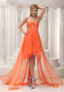 Beaded One Shoulder Ruched High-low Prom Homecoming Dress in Orange