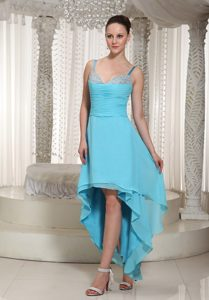 Aqua Blue High-low Beaded Prom Evening Dress with Spaghetti Straps
