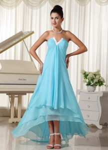 Natural Waist and High-low for Prom Homecoming Dress in Baby Blue