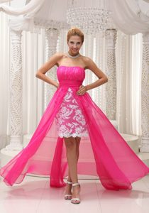 Hot Pink High-low Ruching for Prom Dress Made in Lace and Chiffon
