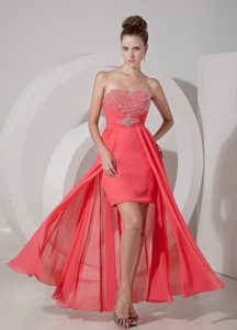 Watermelon Red High-low Prom Dress Evening Gown with Beading