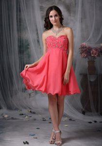 Super Hot Beading Prom Cocktail Dress in Coral Red with Princess
