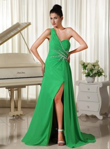 One Shoulder Prom Homecoming Dress with High Slit in Spring Green