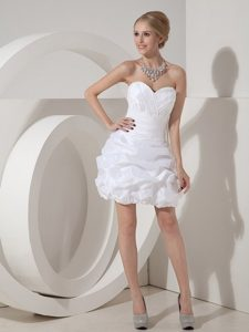 Ruching and Pick ups Accent White Taffeta Dress for Prom Queen