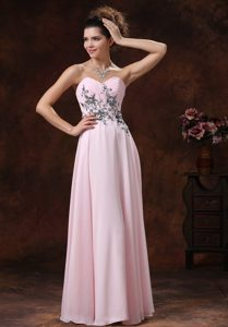 Appliqued and Ruched Empire Prom Nightclub Dress in Baby Pink