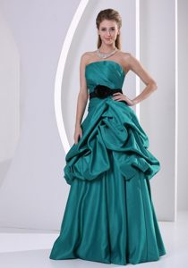 Turquoise Flower Belt Prom Mother Of The Bride Dress with Pick-ups
