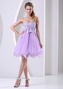 Lilac Beaded Sash Short Dress for Prom Cocktail to Knee-length