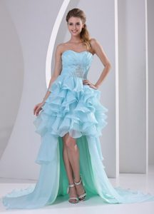Light Blue High-low Ruffles Prom Homecoming Dress with Beading