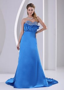 Sky Blue A-line Beaded Sweetheart Prom Formal Dress with Court Train