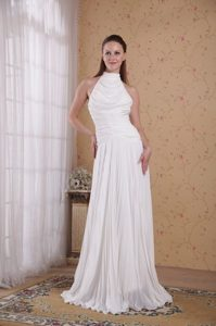 White Empire High-neck Pleating 2013 Prom Dress Made in Chiffon