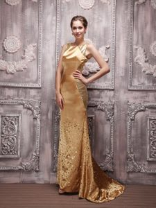 Gold Bateau Sequin Beading Prom Evening Dress with Brush Train