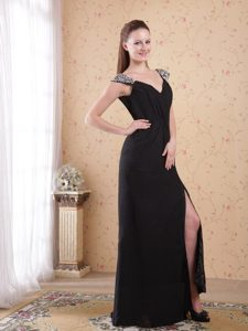 Beaded Straps Forming V-neck Ruching Prom Evening Dress in Black