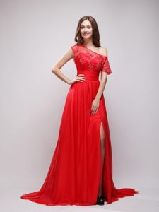 Bright Red Asymmetrical Sleeves Prom Evening Dress with Appliques